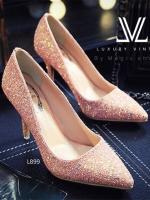 รองเท้าคัชชูส้นเข็มสีชมพู งานนำเข้า100% collectioใหม่ งานสวยค่ะทำจากหนัง กากเพรชสีสันหวานๆ สูง3.5นิ้ว