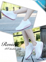 รองเท้าผ้าใบผู้หญิงสีขาว เสริมส้น พื้นยาง พื้นหนา รับน้ำหนักได้ดี สวมใส่สบาย แฟชั่นเกาหลี แฟชั่นพร้อมส่ง