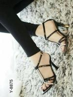 รองเท้าส้นสูงรัดส้น สไตล์YSL (สีดำ )