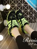 รองเท้าผ้าใบผู้หญิงสีเขียว วัสดุสกรีนลาย แต่ง3แถบ พื้นยาง ยืดหยุ่นได้90องศา พื้นฟันปลา แฟชั่นเกาหลี แฟชั่นพร้อมส่ง