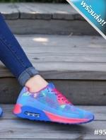 รองเท้าผ้าใบผู้หญิงสีฟ้า สีเรนโบ แบบเชือกผูก พื้นยาง หนานุ่ม รองรับน้ำหนักได้ดี สวมใส่สบายเท้า แฟชั่นพร้อมส่ง