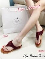 รองเท้าแตะผู้หญิง ทรงหูหนีบ งานสักหราด (สีแดง )