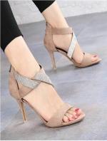 รองเท้าส้นสูง สไตล์แบรนด์ Jimmy Choo(สีแอปริคอท)