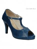 รองเท้าส้นสูงหุ้มส้น สไตล์วินเทจ (สีน้ำเงิน )