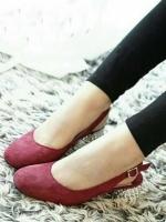 รองเท้าคัทชูรัดส้น miu miu style (สีแดง)