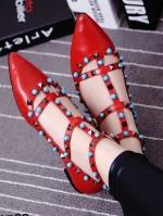 รองเท้าคัชชูสีแดง คัลเลอร์ฟูล 7 สี งาน Valentino แบบชนช้อป สินค้าคอเลคชั่นใหม่ ไฉไล กว่าเดิม วัสดุทำจากหนังpu นิ่มมาก