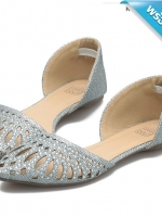รองเท้าคัทชูผู้หญิงสีเงิน ส้นน้ำหนักเบา นิ่มยืดหยุ่น เกาะพื้นดีเยี่ยม ทนทาน