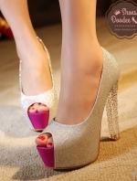 รองเท้าส้นสูง งานพรีเมียม วัสดุหนังกากเพชรละเอียดมาก สวย วิ๊งสุด ส้นแก้วทำจากอะคริลิค สูง5นิ้ว เสริมหน้า1.5นิ้ว