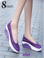 รองเท้าผ้าใบทรงคัชชู สไตล์สุขภาพ (สีม่วง )
