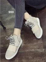 รองเท้าผ้าใบหุ้มข้อ เสริมส้น สไตล์เกาหลี (สีครีม )