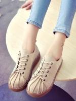 รองเท้าผ้าใบ สไตล์Dr.matens หนังนิ่ม (สีกากี )
