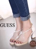 รองเท้าส้นสูงสีขาว ทรงGUESS งานทำจากหนังแก้วซิลิโคนใส นิ่ม ไม่บาดเท้า งานส้นไม้แขงแรง สูง2.6