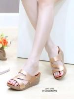รองเท้าแตะผู้หญิง สไตล์ลำลอง สีทูโทน (สีทอง )
