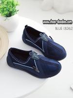 รองเท้าผ้าใบสีน้ำเงิน รองเท้าเพื่อสุขภาพ ที่เห็นแล้วต้องเลิฟ พื้นยางอย่างดี สวมใส่ง่าย เดินนุ่มสบาย