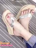 รองเท้าแตะเพื่อสุขภาพแต่งขอบลายเชือกสาน (ลายม้าลาย)
