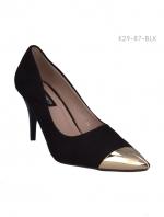 รองเท้าคัทชูส้นสูง หัวแหลมสีทอง (สีดำ )