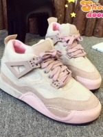 รองเท้าผ้าใบสีชมพู หุ้มข้อเสริมส้น สินค้านำเข้า วัสดุทำจากหนังสักราจ เสริมส้น1.5นิ้ว