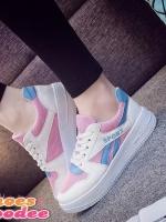 รองเท้าผ้าใบสีชมพู เสริมส้น ลำลอง สินค้านำเข้า100% เสริมส้น2นิ้ว เสริมความมั่นใจ พื้นยางกันลื่นอย่างดี
