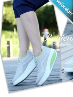 รองเท้าผ้าใบผู้หญิงสีเทา เสริมส้น พื้นยาง พื้นหนา รับน้ำหนักได้ดี สวมใส่สบาย แฟชั่นเกาหลี แฟชั่นพร้อมส่ง