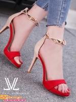 รองเท้าส้นสูงสีแดง ส้นเข็ม4นิ้ว รัดข้องานสวยๆสไตส์ Luxury-Vintage สายคาดข้อเท้าประดับด้วย อะไหล่โลหะสามเหลี่ยม