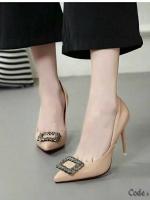 รองเท้าคัทชูส้นสูง หนังแก้ว (สีดำ )