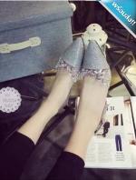 รองเท้าแตะผู้หญิงสีเงิน รัดส้น หัวแหลม ประดับคลิสตัล สายรัดข้อเท้าปรับระดับได้ หรูหรา ดูดี แฟชั่นเกาหลี แฟชั่นพร้อมส่ง