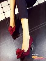 รองเท้าส้นสูงสีแดง สินค้านำเข้า วัสดุทำจากผ้าสักหราจ หัวแหลม หน้าแต่งโบว์ สูง9CM