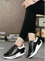 รองเท้าผ้าใบสีดำ ทรงสปอร์ต สูง 2 นิ้ว ซับใบนิ่ม