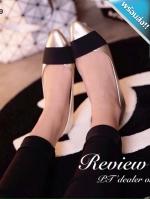 รองเท้าคัทชูส้นเตี้ยสีเงิน หัวแหลม คาดด้วยแถบผ้าสีดำ น่ารัก ทรงทันสมัย แฟชั่นเกาหลี แฟชั่นพร้อมส่ง