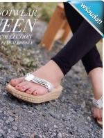 รองเท้าแตะเพื่อสุขภาพเสริมส้นพื้นแต่งเชือกสาน (ลายม้าลาย)