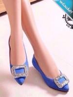 รองเท้าคัทชูผู้หญิงสีน้ำเงิน ส้นแบน หัวแหลม หัวแต่งเพชรสี่เหลี่ยม เรียบหรู ดูดี แฟชั่นเกาหลี แฟชั่นพร้อมส่ง