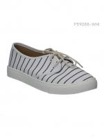 รองเท้าผ้าใบผู้หญิง แบบเชือกผูก (สีขาว )