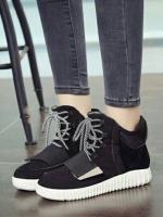 รองเท้าผ้าใบหุ้มข้อ เสริมส้น สไตล์เกาหลี (สีดำ )