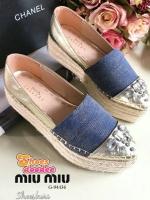 รองเท้าคัทชูสีน้ำเงิน หัวแหลม สูงเสมอ2นิ้ว หัวประดับเพชรเทียม อลังปังเว่อร์มาก งานจริงสวยมากค่ะ