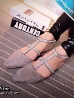 รองเท้าแตะผู้หญิงสีเทา รัดส้น หัวแหลม ประดับคลิสตัล สายรัดข้อเท้าปรับระดับได้ หรูหรา ดูดี แฟชั่นเกาหลี แฟชั่นพร้อมส่ง