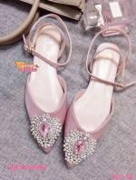 รองเท้าส้นเตี้ยสีชมพู flat shoes พันข้อทรง Dior หน้าประดับเพชรลอม พลอยติดเพชรแน่นๆไม่หลุดง่าย งานสวยพร้อมส่งที่นี้ที่เดี่ยวคะ