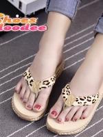 รองเท้าแตะเพื่อสุขภาพแต่งขอบลายเชือกสาน (ลายเสือ)