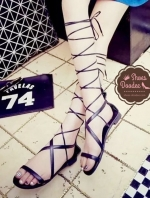 รองเท้าแตะสีดำ สไตส์กลาดิเอเตอร์สายสาวหวาน วัสดุหนัง PUนิ่ม+สาย