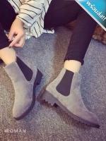 รองเท้าบูทเสริมส้นหัวกลมแนววินเทจ (สีเทา)