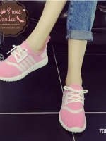 รองเท้าผ้าใบสีชมพู แฟชั่นสไตล์เกาหลี ทรงSport เบาสบายระบาย ใส่เดินเที่ยว หรือออกกำลังกายก็ได้ เก๋สุดๆ