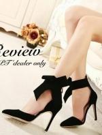 รองเท้าส้นสูงสีดำ งานนำเข้า วัสดุทำจากผ้าสักราจ เกรดA เนื้อดี หัวแหลมส้นสูง ส้นเข็มสูงเพียว4.5นิ้ว เริ่ดมาก