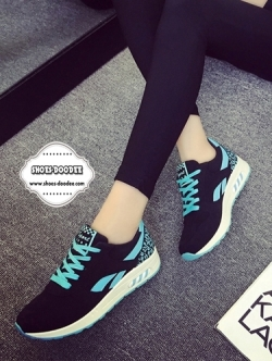รองเท้าผ้าใบแฟชั่นสีฟ้า เสริมส้น สไตล์Asics ทรงสปอร์ต สวยเพรียวสวมใส่กระชับ วัสดุผ้าใบสลับหนังPU พิมพ์ลายสีสัน แฟชั่นเกาหลี แฟชั่นพร้อมส่ง