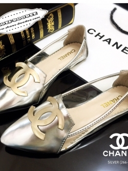 รองเท้าคัทชูสีทอง หัวแหลม STYLE-CHANEL ด้านหน้าประดับอะไหล่CCมาพร้อมพื้นตีแบรนด์CHANEL แฟชั่นเกาหลี แฟชั่นพร้อมส่ง