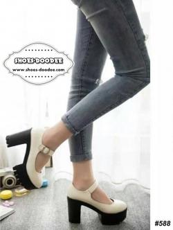 รองเท้าส้นสูงสีขาว วัสดุทำจากหนังพียู แบบสววยใส่สบาย หลังสูง4นิ้ว หน้าสูง2นิ้ว นน.เบา