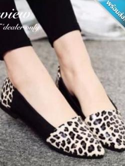 รองเท้าคัทชูส้นแบนลายเสือ หัวแหลม ทรงทันสมัย สวมใส่สบายเท้า น่ารักดูดีมีไสตล์ แฟชั่นเกาหลี แฟชั่นพร้อมส่ง