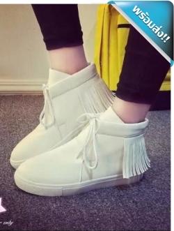 รองเท้าผ้าใบผู้หญิงสีขาว หุ้มข้อ มีชายระบาย วัสดุหนังPU แบบเชือกผูก แฟชั่นเกาหลี