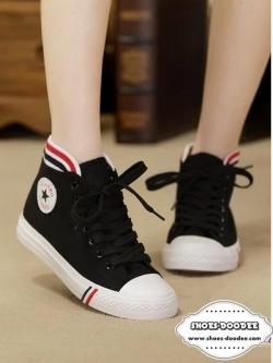 รองเท้าผ้าใบสีดำ ลำลองหุ้มข้อ รุ่นฮิตขายดีมากๆ ทรงสวยเรียบร้อย สวมง่าย แฟชั่นเกาหลี แฟชั่นพร้อมส่ง