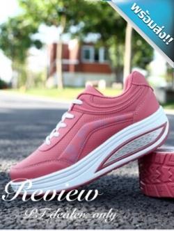 รองเท้าผ้าใบผู้หญิงสีชมพู เสริมส้น พื้นยาง พื้นหนา รับน้ำหนักได้ดี สวมใส่สบาย แฟชั่นเกาหลี แฟชั่นพร้อมส่ง