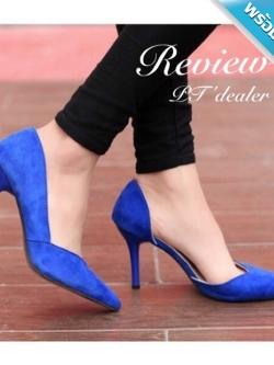 รองเท้าส้นสูงสีน้ำเงิน ส้นเข็ม หุ้มส้น หนังสักราจ เว้าข้างเท้าด้านใน หัวแหลม ทรงทันสมัย แฟชั่นเกาหลี แฟชั่นพร้อมส่ง