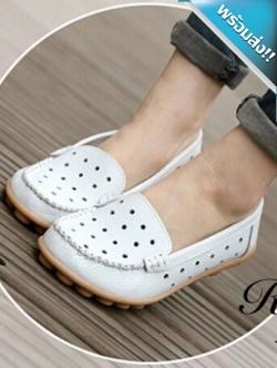 รองเท้าผ้าใบผู้หญิงสีขาว รูเฟอร์หนังเจาะรู แบบสวม โชว์ลายตะเข็บ ทรงทันสมัย เหมาะกับวัยรุ่น แฟชั่นเกาหลี แฟชั่นพร้อมส่ง
